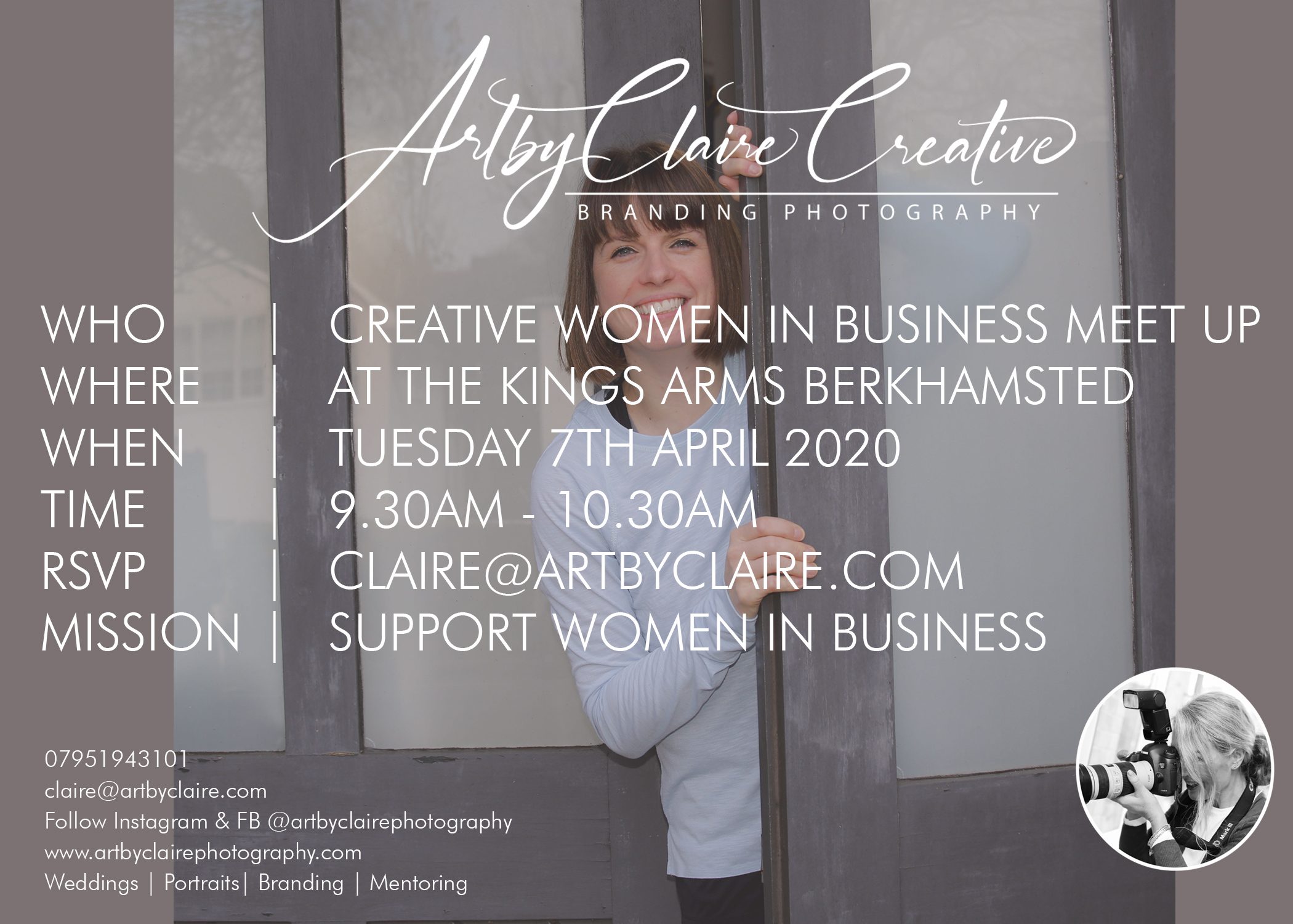 ArtbyClaire Creative Branding for women in business meet up at The Kings Arms Berkhamsted